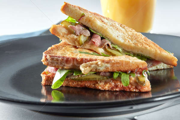 sandwich with bacon and vegetables Stock photo © artjazz