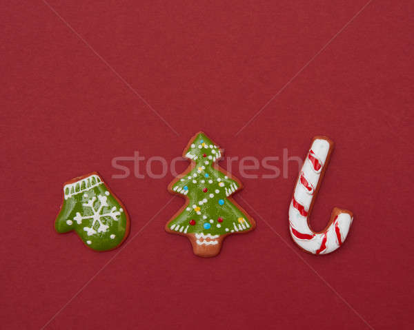 Christmas gingerbread cookies with icing Stock photo © artjazz