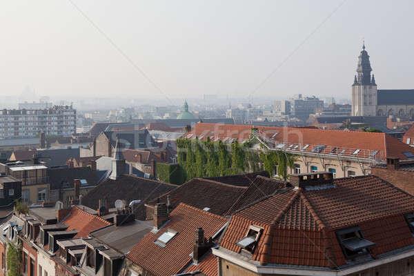 Widok z góry górę wieża panoramiczny Bruksela domu Zdjęcia stock © artjazz