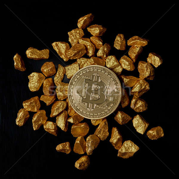 Oro bitcoin moneda negro Foto stock © artjazz