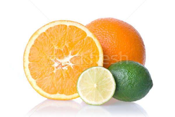 Stockfoto: Oranje · kalk · geïsoleerd · witte · voedsel · zomer
