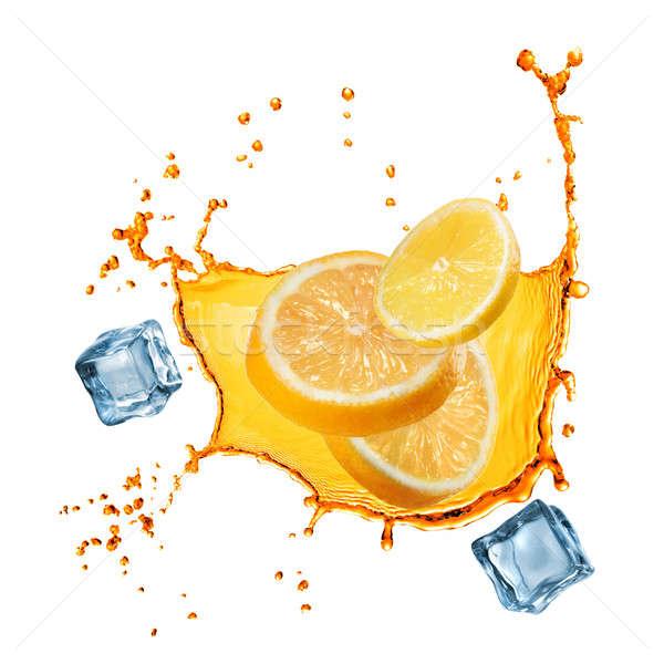 Stok fotoğraf: Uçan · dilimleri · turuncu · limon · meyve · suyu · sıçrama