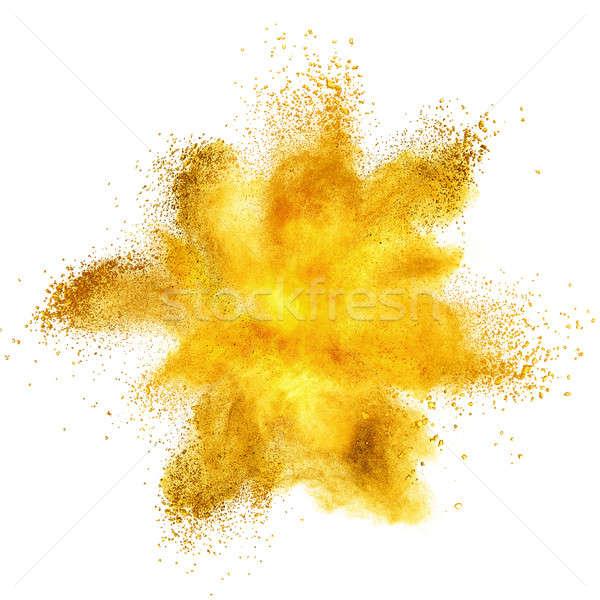 Jaune poudre explosion isolé blanche texture Photo stock © artjazz