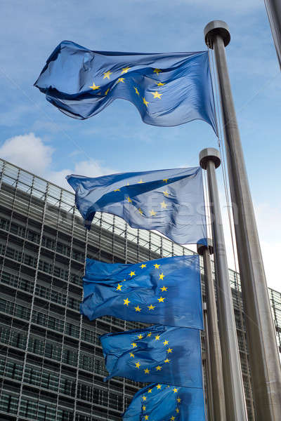 European Union flags in front of the Berlaymont building (Europe Stock photo © artjazz
