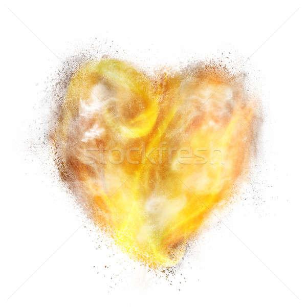 Szív por robbanás tűz füst izolált Stock fotó © artjazz