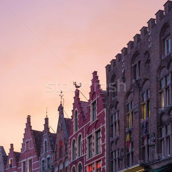Binalar pazar kare gün batımı doğal ışık gökyüzü Stok fotoğraf © artjazz