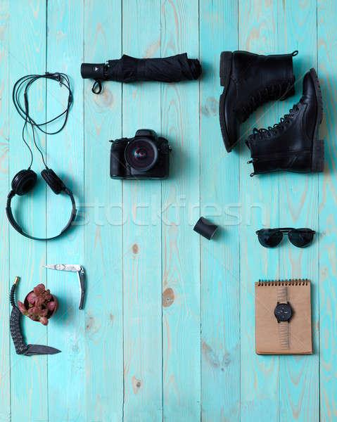 Kellékek szett férfi női fejhallgató kamera Stock fotó © artjazz