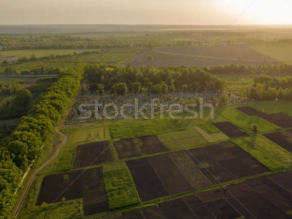Aerial view from the drone, a bird's eye view of abstract geometric forms of agricultural fields, fo Stock photo © artjazz