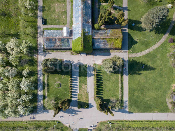 Aerial view shooting from drone of the symmetrical square of the National Exhibition Center in Kiev, Stock photo © artjazz