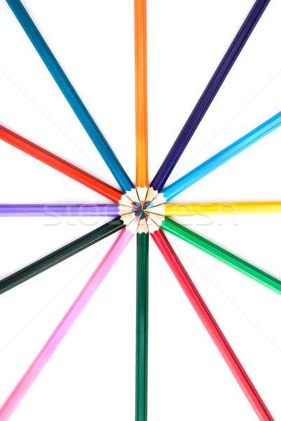Renk kalemler yalıtılmış beyaz iş kalem Stok fotoğraf © artjazz
