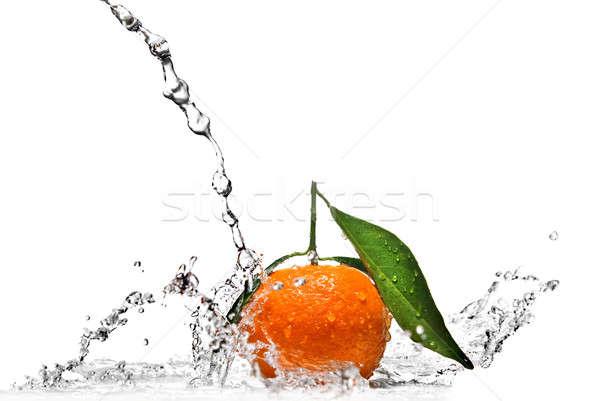Mandarin csobbanás izolált fehér étel fény Stock fotó © artjazz