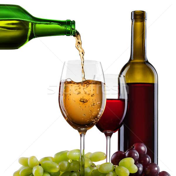 ストックフォト: 白ワイン · ガラス · ブドウ · ボトル · 孤立した