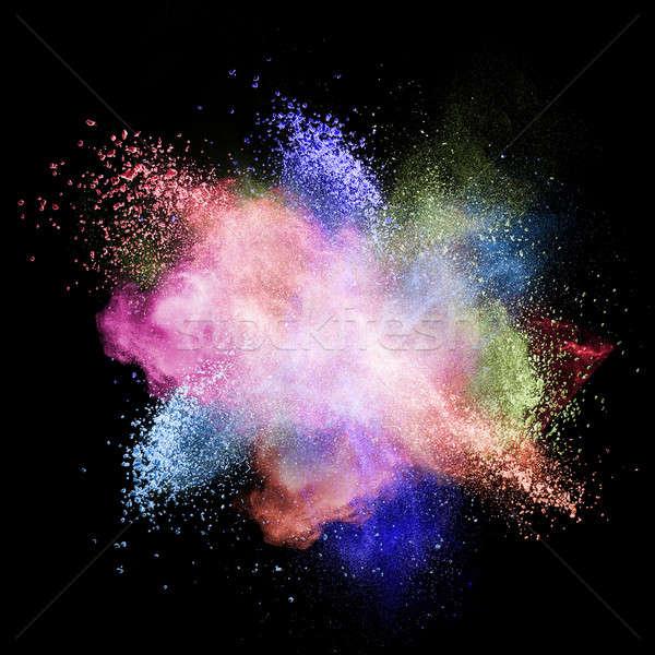 Color polvo explosión aislado negro textura Foto stock © artjazz