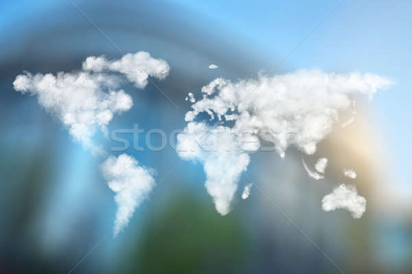 world map made of clouds against European Parliament Stock photo © artjazz