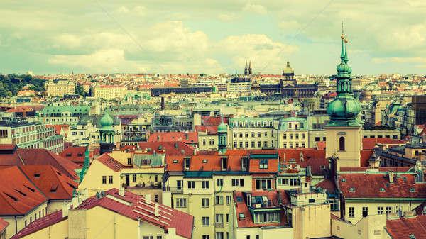Cityscape Prag Çek Cumhuriyeti evler ev Stok fotoğraf © artjazz