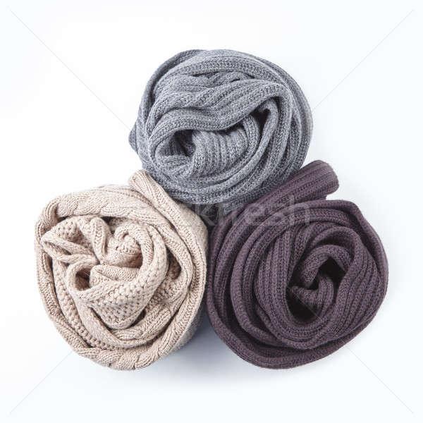 three twisted female scarf isolated on white Stock photo © artjazz