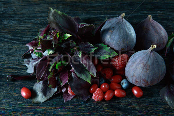 berries bunch, basil and figs Stock photo © artjazz