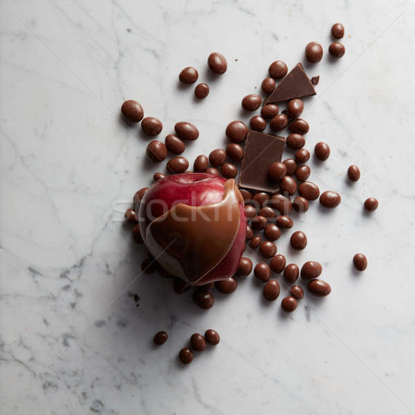 Stock photo: Chocolate on red apple fruit