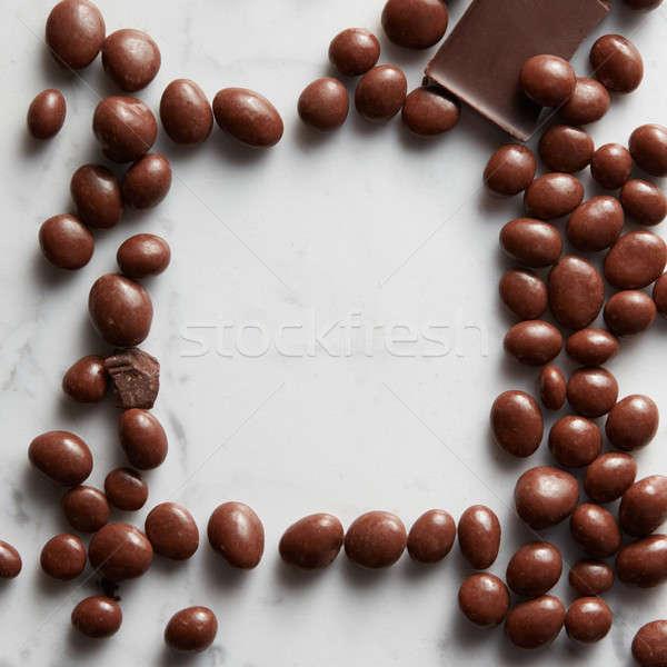 Stock fotó: Keret · csokoládé · golyók · fehér · absztrakt · háttér