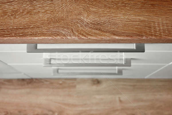 Top view of white kitchen cupboard Stock photo © artjazz