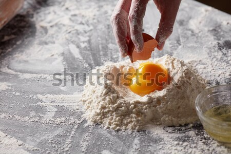 Dos harina mesa de cocina ingredientes frescos Foto stock © artjazz
