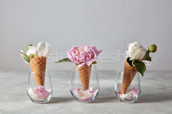 Ostya fagylalt virágok szirmok rózsaszín fehér Stock fotó © artjazz