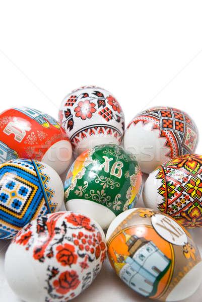 Húsvéti tojások húsvét tojás háttér narancs kék Stock fotó © artjazz