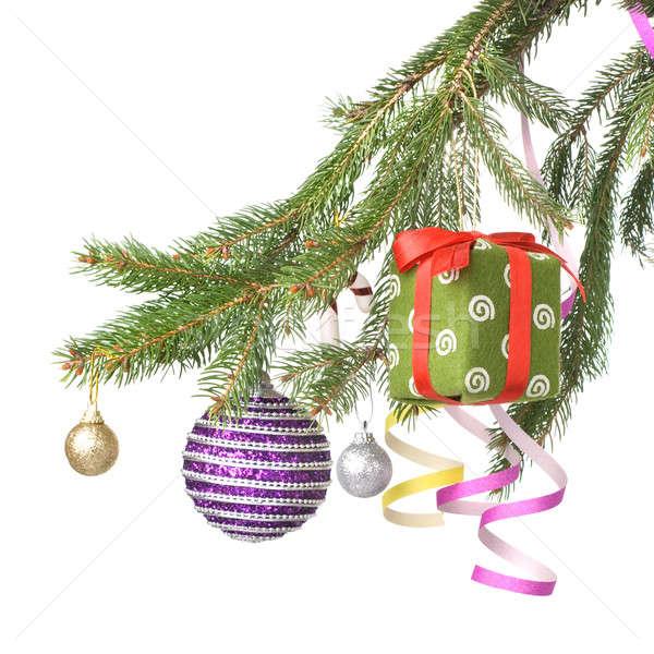 Christmas dar dekoracji oddziału Zdjęcia stock © artjazz