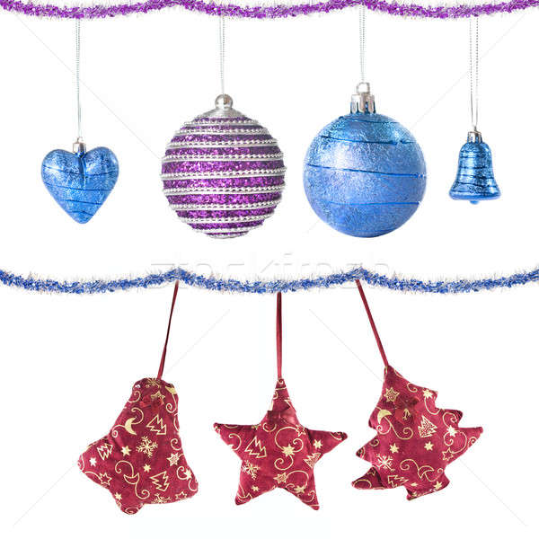 Christmas balls and decoration isolated on white Stock photo © artjazz