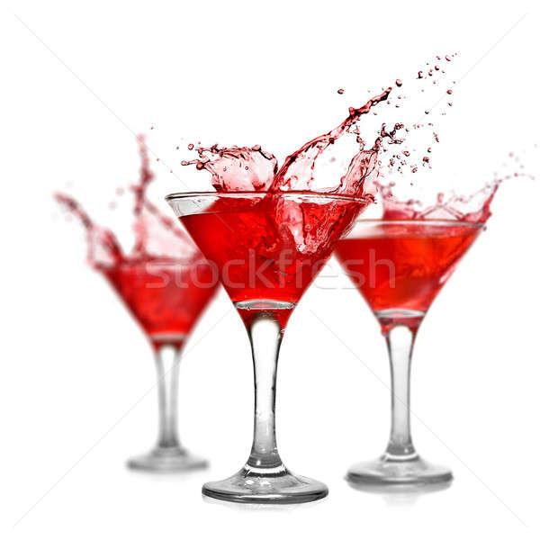 Сток-фото: красный · коктейли · всплеск · изолированный · белый · стекла
