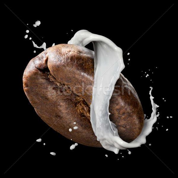 Kávébab tej csobbanás izolált feketekávé bab Stock fotó © artjazz