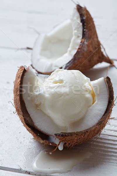 Wanilia Kokosowe lody powłoki biały Zdjęcia stock © artjazz