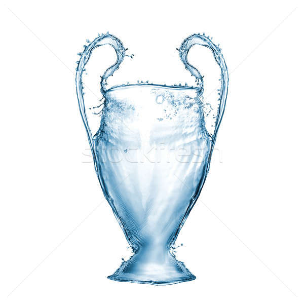 Football cup made from water splashes isolated on white background Stock photo © artjazz
