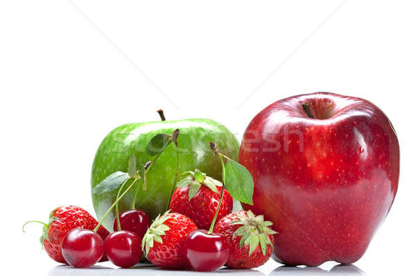 Stock fotó: Nyár · friss · gyümölcsök · izolált · fehér · alma