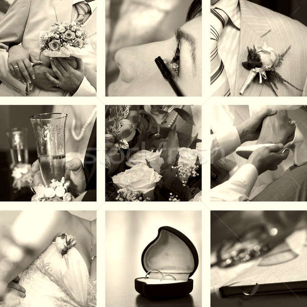 wedding photos set in sepia Stock photo © artjazz