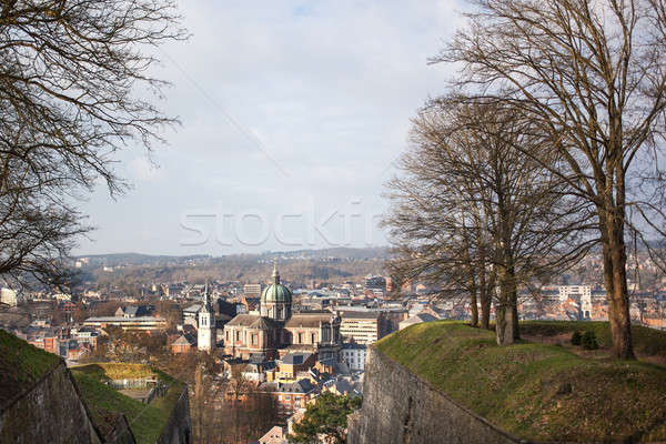 Városkép Belgium épület város templom piros Stock fotó © artjazz