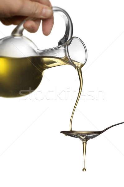 áramló olaj bögre kanál izolált fehér Stock fotó © artjazz