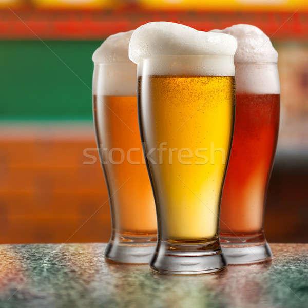 Diverso birra occhiali pub vetro tavola Foto d'archivio © artjazz