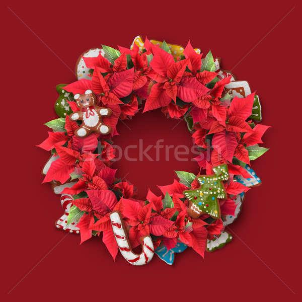 Christmas takje krans ingericht snoep rode bloemen Stockfoto © artjazz