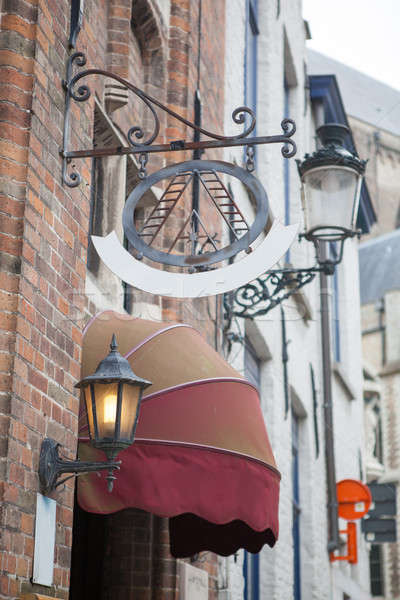 Sign saying Hotel in a Bruges street Stock photo © artjazz