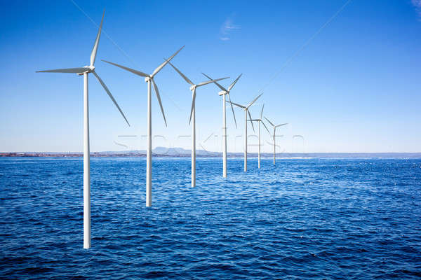 Wind generators turbines in the sea Stock photo © artjazz