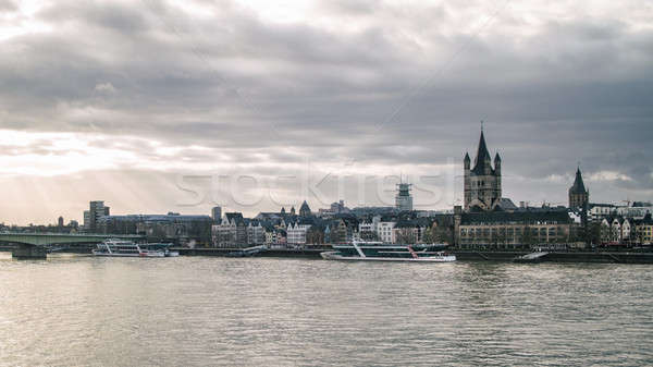 View on Great St. Martin Church and Tower of City Hall in Cologne Stock photo © artjazz