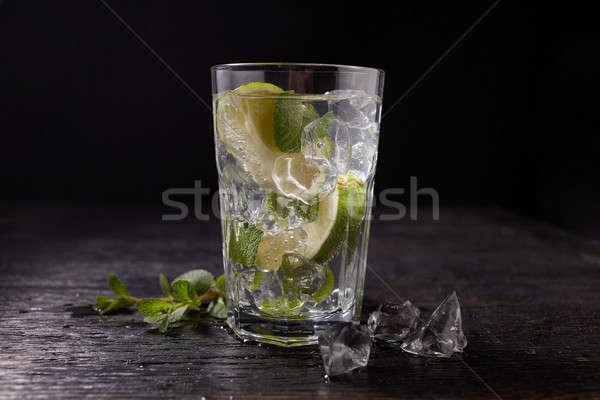 Mojito cocktail glas ijs mint donkere Stockfoto © artjazz