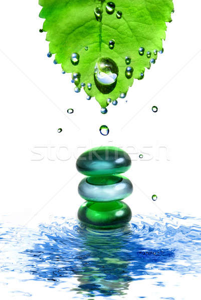 balancing spa shiny stones in water with leaf and drops isolated on white Stock photo © artjazz