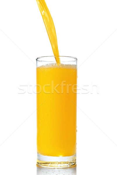 Foto d'archivio: Succo · d'arancia · vetro · isolato · bianco · estate · bere