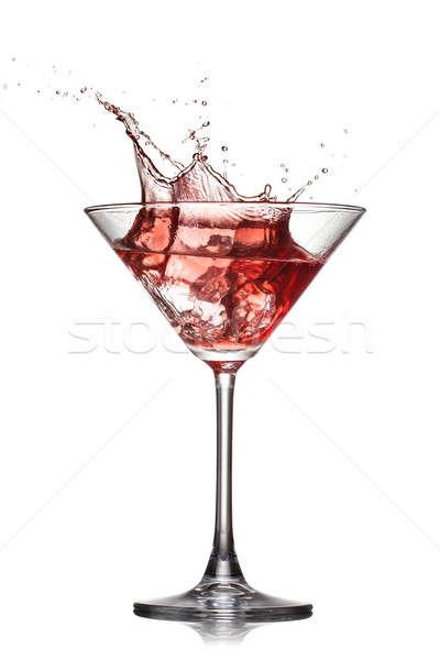 Piros koktél csobbanás izolált fehér üveg Stock fotó © artjazz