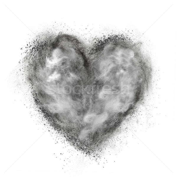 heart made of black powder explosion isolated on white Stock photo © artjazz