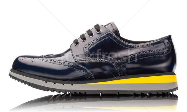 Kék férfi bőr sportcipők izolált fehér Stock fotó © artjazz