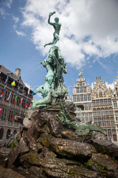Monument on Grote Markt - Big Market Square in the Antwepen Stock photo © artjazz