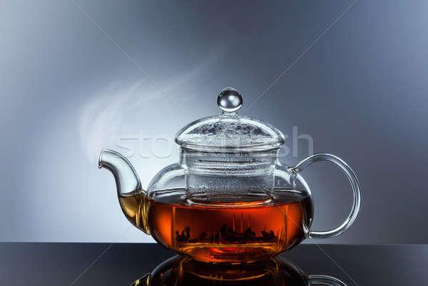 ガラス ティーポット カップ ホット 茶 黒 ストックフォト © artjazz